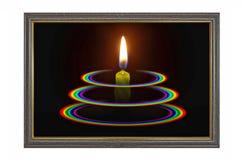 Mire al trasluz la luz con tres arco iris del círculo en marco azul Imagenes de archivo