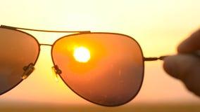 Mire el sol a través de las gafas de sol almacen de video