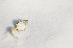 Mire la mentira en la nieve antes de Año Nuevo Fotografía de archivo libre de regalías