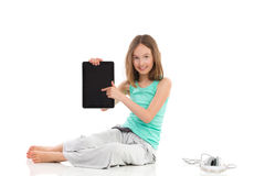Mire mi tableta digital Imagen de archivo libre de regalías