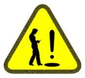 Mire sus pasos no su señal de peligro del teléfono Fotografía de archivo