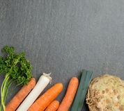 Mirepoix vegetables cooking background Royalty Free Stock Photos