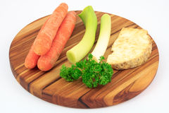Mirepoix on wooden cutting board Stock Photos