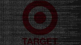 Miri al logo fatto del codice sorgente sullo schermo di computer Animazione loopable editoriale video d archivio