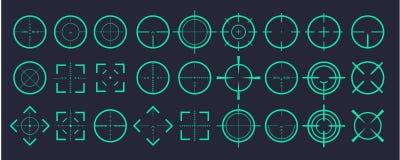 Miri allo scopo ed a tendere ai segni del centro il simbolo L'illustrazione creativa di vettore dell'icona dei crosshairs ha mess illustrazione vettoriale