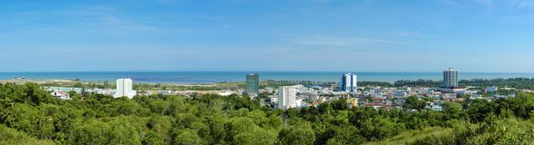 Panoramic view of Miri town, a coastal town north of state of Sarawak, Borneo. royalty free stock image