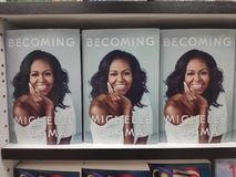 MIRI,MALAYSIA - CIRCA MARCH,2019 : Becoming book written by Michelle Obama at the bookstore. MIRI,MALAYSIA - CIRCA MARCH,2019 : Becoming book written by royalty free stock photos
