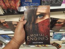 MIRI,MALAYSIA - CIRCA MARCH,2019 : Mortal Engines by Philip Reeve book for sell in the bookstore. MIRI,MALAYSIA - CIRCA MARCH,2019 : Mortal Engines by Philip royalty free stock photography