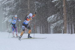 Miriam Goessner - biathlon. Miriam Goessner from Germany in women 10 km pursuit race within biathlon world cup 2014/2015 held on Nove Mesto na Morave on 8.2.2015 Royalty Free Stock Photos