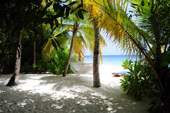 Mirihi es un pequeño (app. los 300m por la isla de los 50m) Fotos de archivo libres de regalías