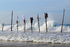 Mirissa, Sri Lanka, 25-02-2017: Completion of the traditional fishing competition among the Sri Lankan fishermen Royalty Free Stock Images