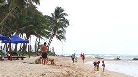 MIRISSA, SRI LANKA - MÄRZ 2014: Familiengebäudesandburg auf Strand in Mirissa Das kleine Dorf lebt größtenteils von den Touristen stock video footage