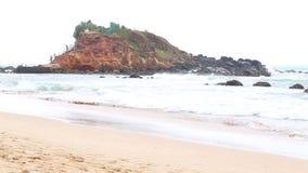 MIRISSA, SRI LANKA - MARCH 2014: The view of a beach in Mirissa. This small sandy tropical beach boasts some of Sri Lanka�s best stock video footage