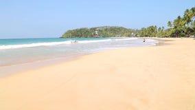 MIRISSA, SRI LANKA - MARCH 2014: Woman strolling on beautiful sandy tropical beach. This small sandy tropical beach boasts some of stock video