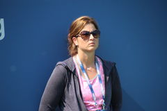 Mirka Federer. Wife of tennis legend Roger Federer watching husband during his practice session at the 2013 US open tennis tournament Royalty Free Stock Photos
