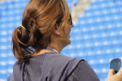Mirka Federer. Wife of tennis legend Roger Federer watching husband during his practice session at the 2013 US open tennis tournament Royalty Free Stock Photo
