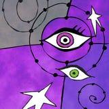 Miro -miro-esque (ogen en sterrenillustratie in de stijl van Juan Miro) Royalty-vrije Stock Foto