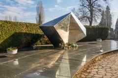 Mirogoj Cemetery Memorial. Zagreb, Croatia - December 30th 2018. A Yugoslavia era war memorial in a Mirogoj Cemetery in the Croatian capital Zagreb commemorating royalty free stock photography