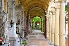 Mirogoj cemetery of Zagreb croatia. The Mirogoj Cemetery is a cemetery park that is considered[1] to be among the more noteworthy landmarks in the City of Zagreb Stock Image
