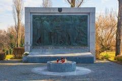 Mirogoj Cemetery War Memorial. Zagreb, Croatia - December 30th 2018. A Yugoslavia era World War Two memorial in a Mirogoj Cemetery in the Croatian capital Zagreb stock photography