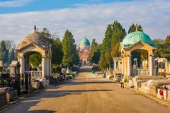 Mirogoj Cemetery in Zagreb. Zagreb, Croatia - December 30th 2018. The historic Mirogoj Cemetery in the Croatian capital Zagreb royalty free stock photos