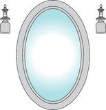 Miroir avec les bougeoirs légers illustration de vecteur