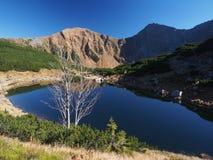 Miroir bleu du lac dans le coucher du soleil dans les montagnes Photo stock