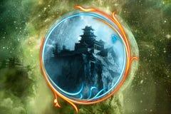 Miroir coloré abstrait artistique en tant que secret à un autre monde dimensionnel d'un château dans une illustration galactique photographie stock libre de droits