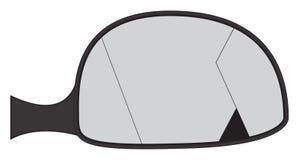 Miroir criqué de côté de voiture Photo stock