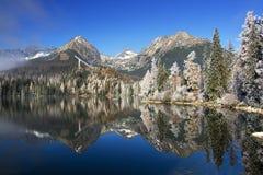 Miroir dans un beau lac dans le haut Tatras Photographie stock