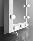 Miroir de maquillage avec des ampoules Photographie stock