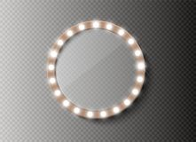 Miroir de maquillage d'isolement avec des lumières d'or Illustration de vecteur illustration de vecteur
