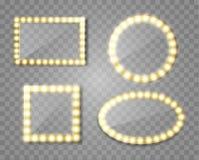 Miroir de maquillage d'isolement avec des lumières d'or Place de vecteur et illustration ronde de cadres illustration de vecteur