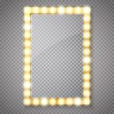 Miroir de maquillage d'isolement avec des lumières d'or Vecteur illustration stock