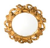 Le bois découpé rond a doré le miroir de mur photographie stock libre de droits