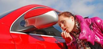 Miroir rouge. Photos libres de droits
