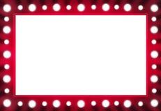 Miroir rouge d'ampoule d'arrière-scène avec l'espace blanc Photos stock