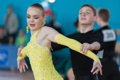 Mironovich Maksim and Akulich Anastasiya Perform Youth Latin-American Program. Minsk, Belarus –April 3, 2016: Mironovich Maksim and Akulich Anastasiya Perform Royalty Free Stock Photo