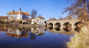 Mirovice town and river Skalice Stock Photos