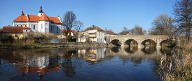 Mirovice town and river Skalice Royalty Free Stock Photos