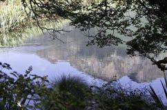 Mirror湖在峡湾国家公园 美丽的新西兰 图库摄影