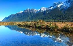 Mirror湖,新西兰 图库摄影