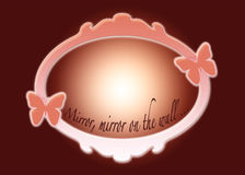 Mirror. Abstract mirror with butterflies on both sides on a dark red background and with written text at the bottom of the mirror: Mirror, mirror on the wall Stock Image