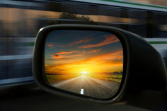 Mirror. Blurred action from car at high speed Stock Images