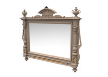 Mirror. Ancient in a carved frame on a white background Royalty Free Stock Images