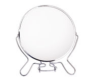 Mirror. Silver makeup mirror isolated on white Stock Image