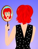Mirror. A woman looking in a mirror vector illustration