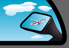 Mirror and airplane Royalty Free Stock Images