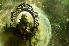 Mirror As A Backdoor To Another Dimensional World Of A Castle In A Unique Abstract Galaxy Artwork royalty free stock image