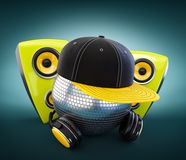 Mirror ball with cap and headphones Stock Photo